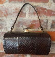 Vintage Reptile Purse Alligator Crocodile Box Style Handbag Bag Brown Leather