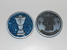 FIRST HOLY COMMUNION Enamel Sparkle Token Christian Religious Gift Church Coin