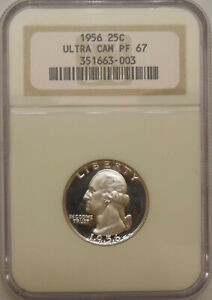 1956 NGC PF-67-UCAM Washington quarter superb GEM proof heavy cameo contrast