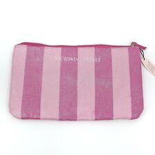 "Victoria Secret Zipper Pouch Cosmetic Makeup Bag Pink White Stripe 6.5"" X 11.5"""