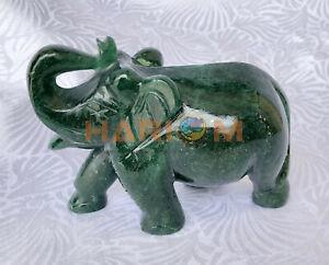 "3"" Margaj Jade Elephant Figurine Beautiful Hand Carved Baby Elephant Statue G050"