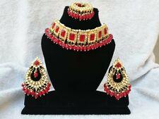 Indian Bollywood Kundan Stone Wedding Choker Necklace Set 06