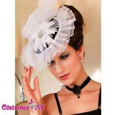 White Victorian Mini Top Hat Burlesque Fascinator Costume Accessories