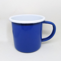 330 ml blue enamel mug camping enamelware coffee cup tea vintage beer glass