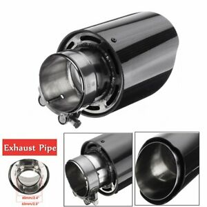 63MM Glossy Carbon Fiber Auto Car Exhaust Pipe Tail Muffler End Tip   AU l+