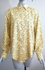 ESCADA Sport Women's Yellow 100% Cotton Golf Themed Button Down Shirt Size Small