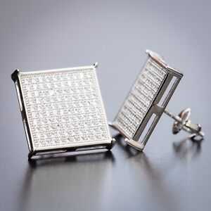 Men's Large Square White Gold Sterling Silver CZ Iced Hip hop Earrings