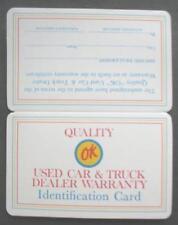 """1960'S CHEVROLET DEALER """"OK"""" USED CAR & TRUCK WALLET WARRANTY ID CARD  MINT NEW"""