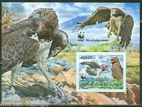 GUINEA 2013 WORLD WILDLIFE FUND  WWF BIRDS OF PREY  SOUVENIR SHEET IMPF  MINT NH