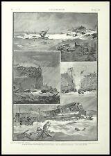 GRAVURE LE CYCLONE DU TEXAS USA TSUNAMI ETCHING 1900