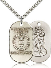 Sterling Silver Men's AIR FORCE Pendant - Includes 24 Inch Heavy Curb Chain -...