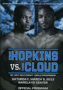 BERNARD HOPKINS VS. TAVORIS CLOUD OFFICIAL PROGRAM, 3/9/13 BROOKLYN