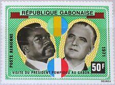 Rapatrié Gabon 1971 419 c107 visit president Georges pompidou & Bongo statesmen MNH