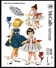 DANCE DRESS FROCK Sewing Pattern Playsuit PETTICOAT Toddler McCall's # 2218 -2-