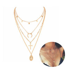 Women Retro Cross Moon Virgin Mary Round Multilayer Chain Pendant Gold Necklaces