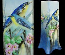 Large Antique Bernardaud Limoges France B & Co Vase Hand Painted Blue Birds