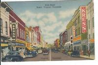 CB-483 TN VA Bristol State Street Linen Postcard Kress Kings Drug Store Old Cars