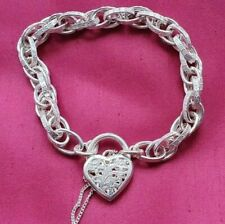 925 Italy Sterling Silver Double Link Chain Bracelet with Heart Locket 15.9 g