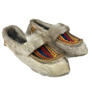 Vintage Moccasin Slippers Handmade_Beige_Size 40
