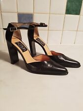 SCHUH ladies Black Leather High heel shoessize 7 New