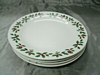 "Royal Norfolk RNF126 HOLIDAY BERRY Set of 4-10 1/2"" Dinner Plates Christmas EC"