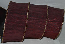 Wired Ribbon~Christmas Color-Change Burgundy-Black Crinkle~Holiday~Wreath~Bow