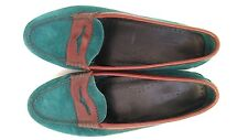 £120 WEEJUNS GH BASS&CO green handmade flat shoes size 4 --VGC-- 100%Leather