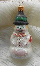 Xmas Ornament Blown Glass Snowman