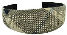 $195 BURBERRY Gray Black Nova Check SILVER STUDS Women's Headband