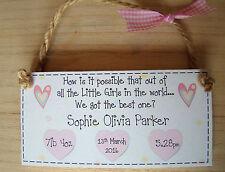 PERSONALISED GIFT baby girl christening or birth handmade keepsake  plaque
