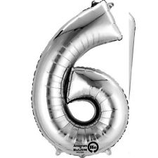 "Number 6 Silver Foil Balloon 16"" 40cm Air Fill Age Name Birthday Anniversary"