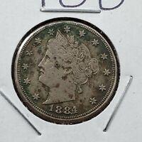 1884 Liberty Head V Nickel Choice VF Details ED Nice Circulated Condition Semi🔑