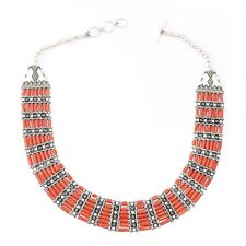 Handmade Traditional Oxidized Silver Coral Stone Necklace women Jewelry UK