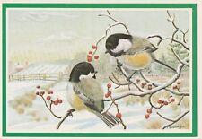 "*Bird Postcard--ART--""Black-Capped Chicadees-Birds"" /Seasons Greetings/ (U2-771)"