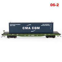 HO Scale US ARMY 52' Flat Car 40ft CMA CGM Shipping Container Freight Cars Lot