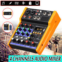 4 Channel USB bluetooth Live Studio Audio Mixer Mixing Console 48V Phantom