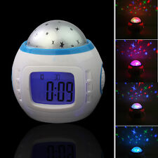 Music Starry Star Sky Projection Alarm Clock Calendar Thermometer kids Bedroom