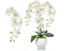 Möbel & Wohnen künstliche Orchidee im Dekotopf Künstpflanze 45cm Hochzeit Geschenk weiss      3 Dekoration