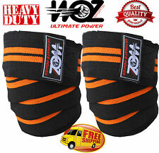 WOZ KNEE WRAPS WEIGHT LIFTING BANDAGE STRAP GYM BODYBUILDING POWERLIFTING SUPPOR