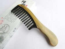 Nice 3-6 QiaoYaTou Verawood Health Care Comb with Black Ox Horn Wide-Toothed