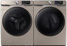 Samsung Wf45R6100Ac Washer & Dvg45R6100C Gas Dryer Champange Side-by-Side