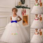 2-14 robes de fille robe enfant robe filles de fleurs de mariage blanc ivoire-G