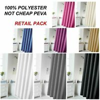 Shower Bathroom Curtain Waterproof With 12 Hooks Fabric Extra Long Polyester Set