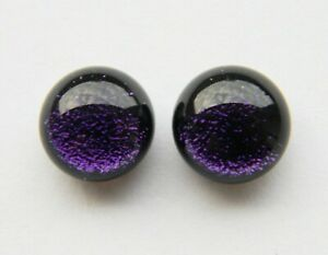 Dichroic Glass Sterling Silver Stud Earrings - Deep Purple Shimmer