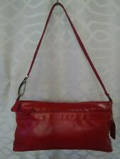 Giani Bernini Genuine Leather Shoulder Bag-Purse-Handbag-Red-Zippered Pocket