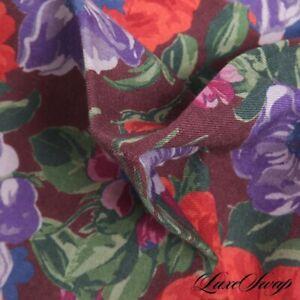 NWOT Made in Italy Silk Wool Wine Brushstroke Watercolor Floral Pocket Square NR