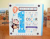 BABY BOY FIRST  BIRTHDAY CARD PERSONALISED -1ST BIRTHDAY BOY MONKEY