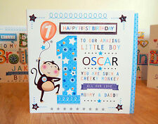 BABY BOY FIRST  BIRTHDAY CARD PERSONALISED -1ST BIRTHDAY BOY MONKEY