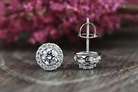 3 Ct Diamond Halo Stud Earrings Womens Round Diamond Earrings 14k White Gold