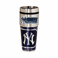 Yankees Travel Tumbler 16oz Stainless Steel mug Plastic Insert Logo New York